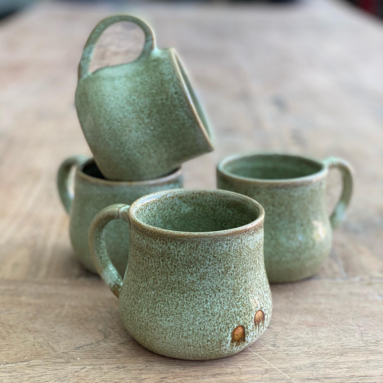 Set Of 4 11oz Green/Brown Mugs