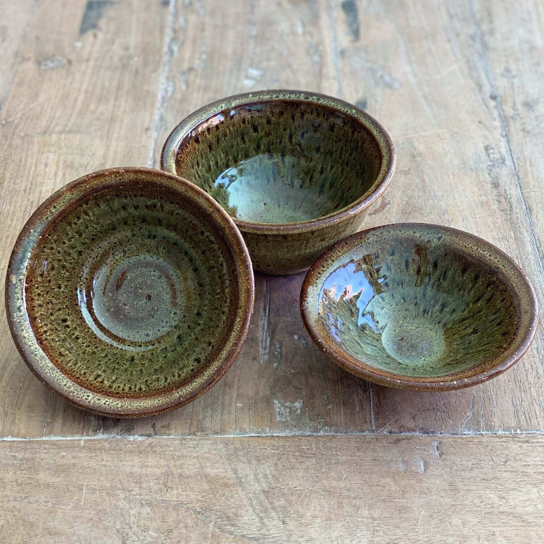 Set Of 3 Rustic Leopard Bowls