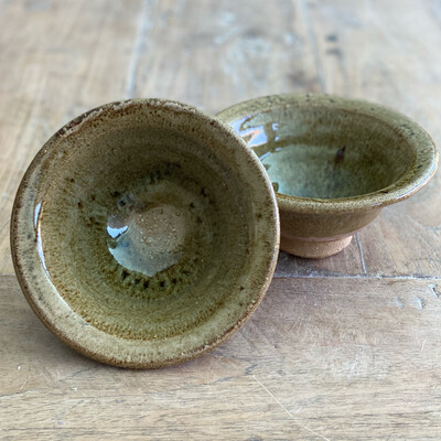 Pair Of Rustic Pink and Brown Bowls