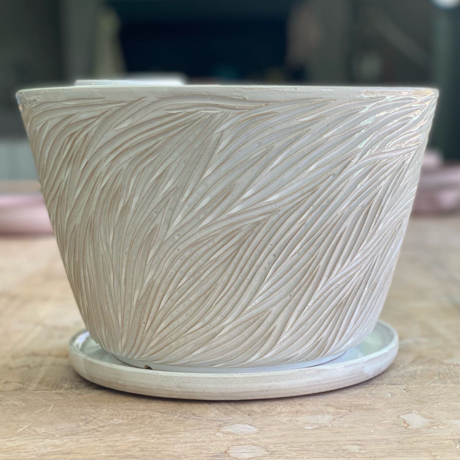 Large White Carved Planter