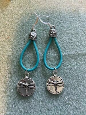 Leather Dragonfly earrings