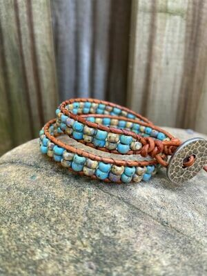 Double Wrap Bracelet - Turquoise and Tan