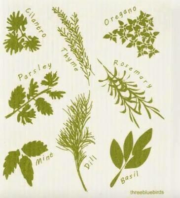 Green Herbs Swedish Dishcloth