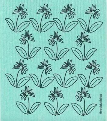 Blue with black outline flowers Swedish dishcloth