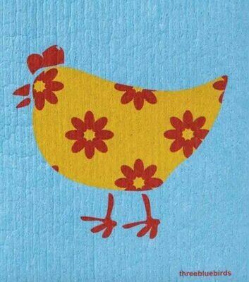 Chicken red/orange w blue background Swedish Dishcloth