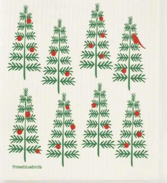 Christmas tree w red bird Swedish Dishcloth