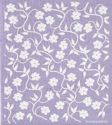 Lavendar w White Flowers Swedish Dishcloth