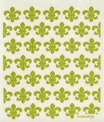 Green Fleur De Lis Pattern Swedish Dishcloth
