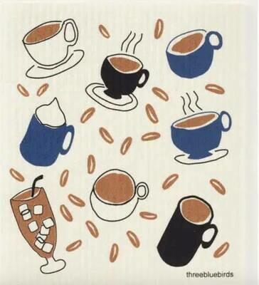 Coffee Cups Swedish Dishcloth