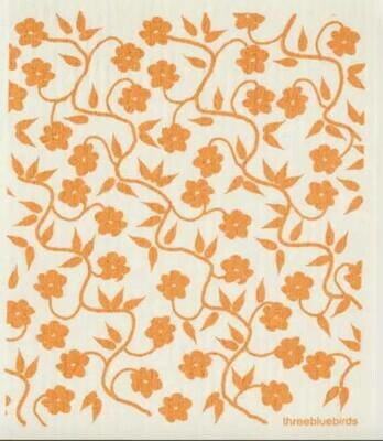 Gold Flower Pattern Swedish Dishcloth