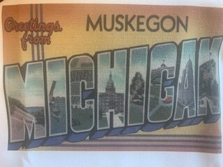 Greetings From Muskegon  Dishtowel
