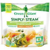 Green Giant Simply Steamed Broccoli Cauliflower, carrots cheesy sauce 10 oz