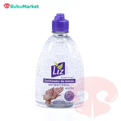 ALCOHOL EN GEL, SANITIZADOR DE MANOS LIZ ANTIBACTERIAL NEUTRO DE 500 ML.