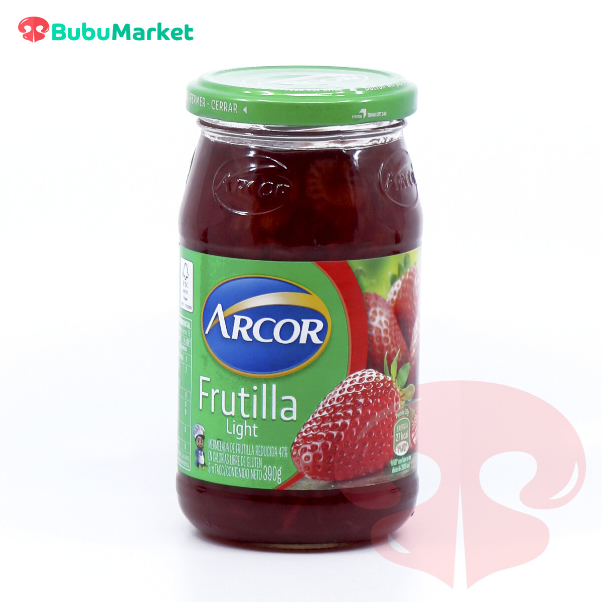 MERMELADA EN FRASCO FRUTILLA LIGHT ARCOR 390 GR.