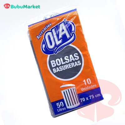 BOLSAS OLA PARA BASURA 50 LT. (70cm. x 75cm.) PAQ. DE 10 U.