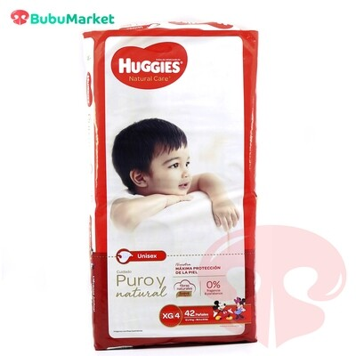 PAÑALES HUGGIES NATURAL CARE XG/4 DE 42 U.