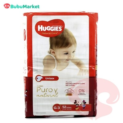 PAÑALES HUGGIES NATURAL CARE G/3 DE 52 U.