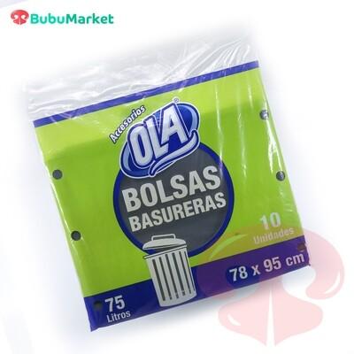BOLSAS OLA PARA BASURA 75 LT. (78cm. x 95cm.) PAQ. DE 10 U.