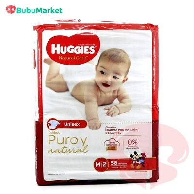 PAÑALES HUGGIES NATURAL CARE M/2 DE 58 U.