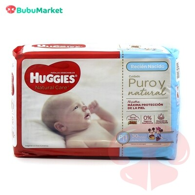 PAÑALES HUGGIES NATURAL CARE RECIEN NACIDO P1 DE 30 U.