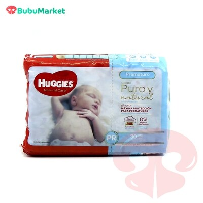 PAÑALES HUGGIES NATURAL CARE PREMATURO PR DE 30 U.