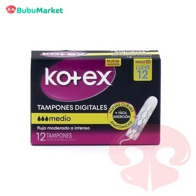 TAMPONES DIGITALES KOTEX MEDIO 12 U.