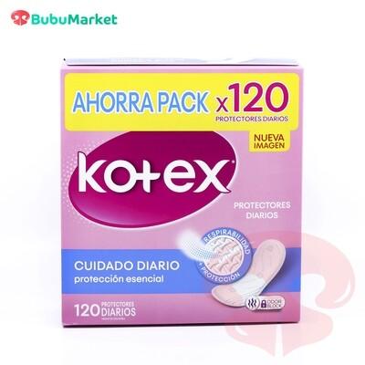 PROTECTORES DIARIOS KOTEX PROTECCIÓN ESENCIAL CAJA DE 120 U.