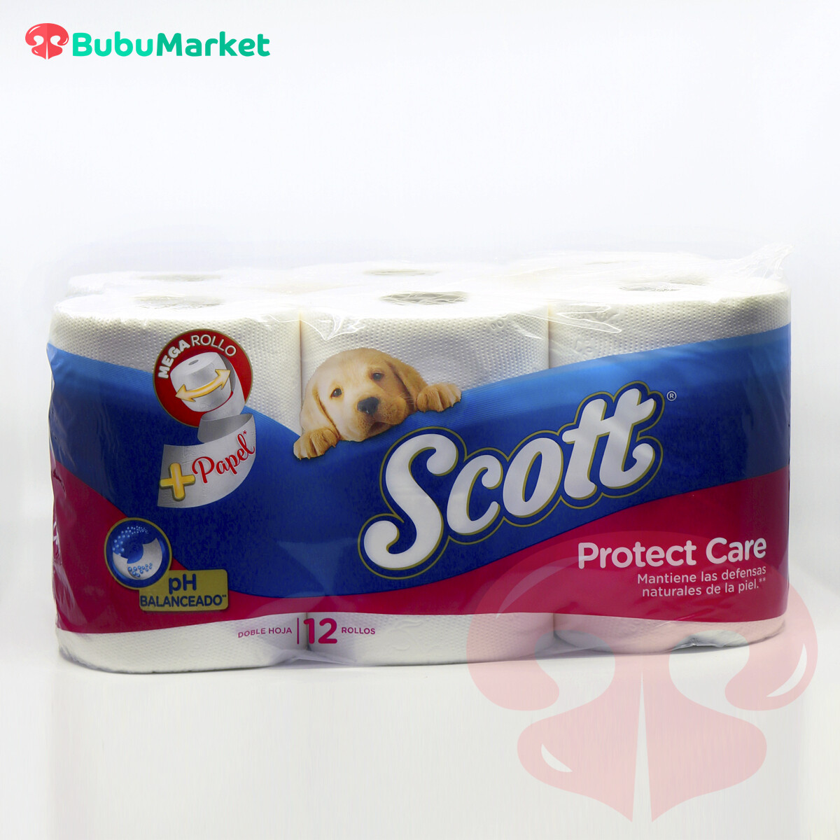PAPEL HIGIENICO SCOTT PROTECT CARE DE 12 ROLLOS DOBLE HOJA