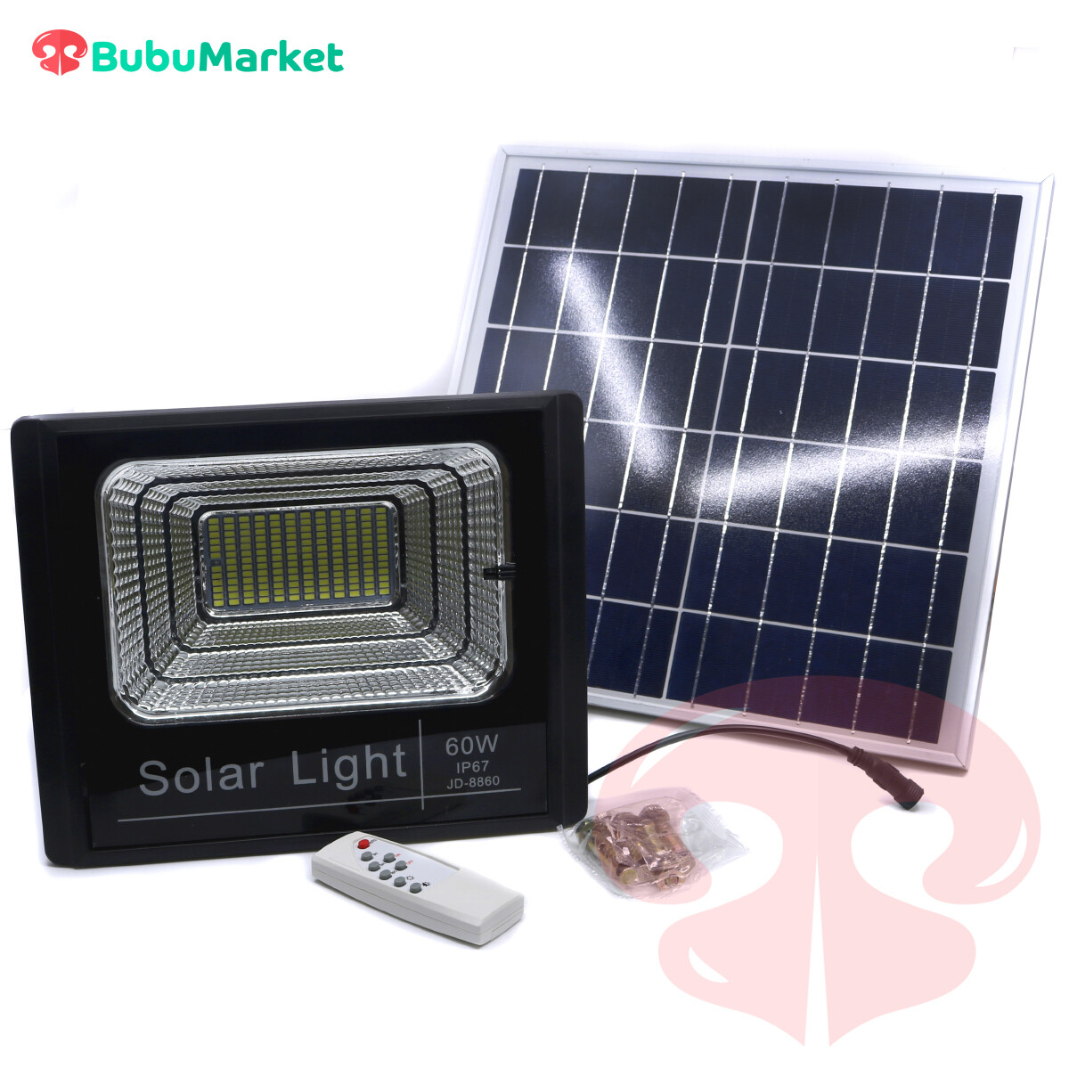 REFLECTOR LED DE 60 WATTS CON BATERIA RECARGABLE CON PANEL SOLAR CON MANDO A DISTANCIA.
