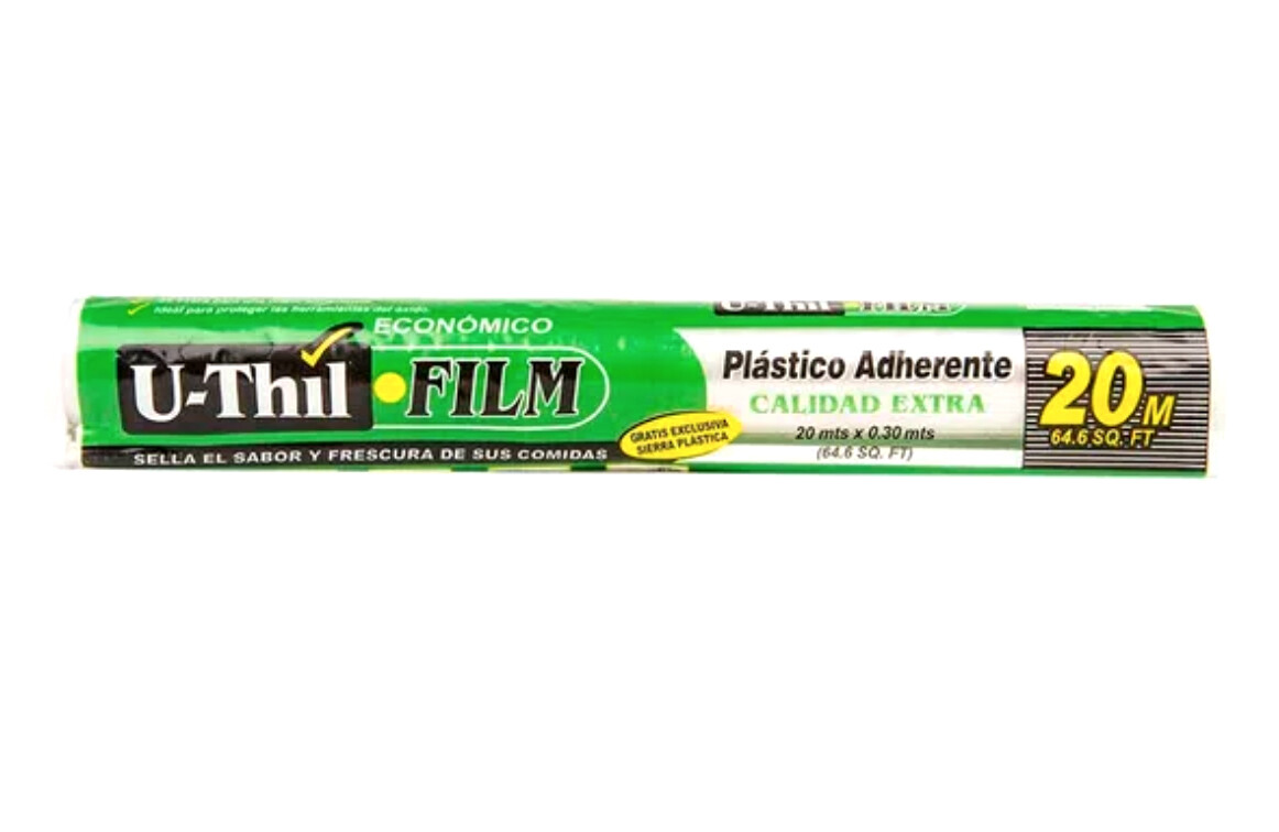 FILM PLASTICO ADHERENTE UTHIL ROLLO EN BOLSA CON SIERRA 20 M. X 30 CM.