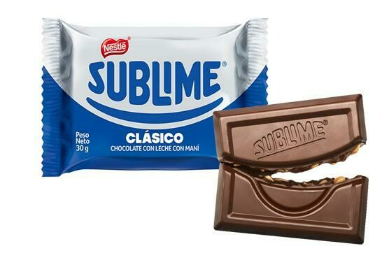 CHOCOLATE SUBLIME CLASICO NESTLE (CON LECHE Y MANI) DE 30 GR.