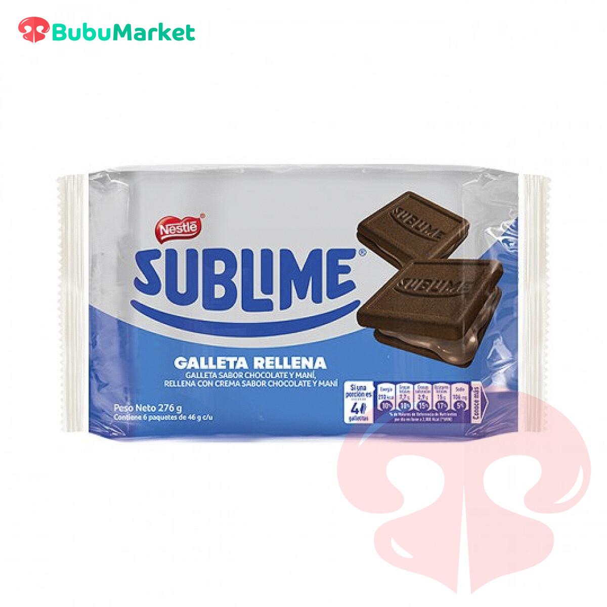 GALLETAS RELLENAS SUBLIME NESTLE SABOR CHOCOLATE Y MANI 276 GR.