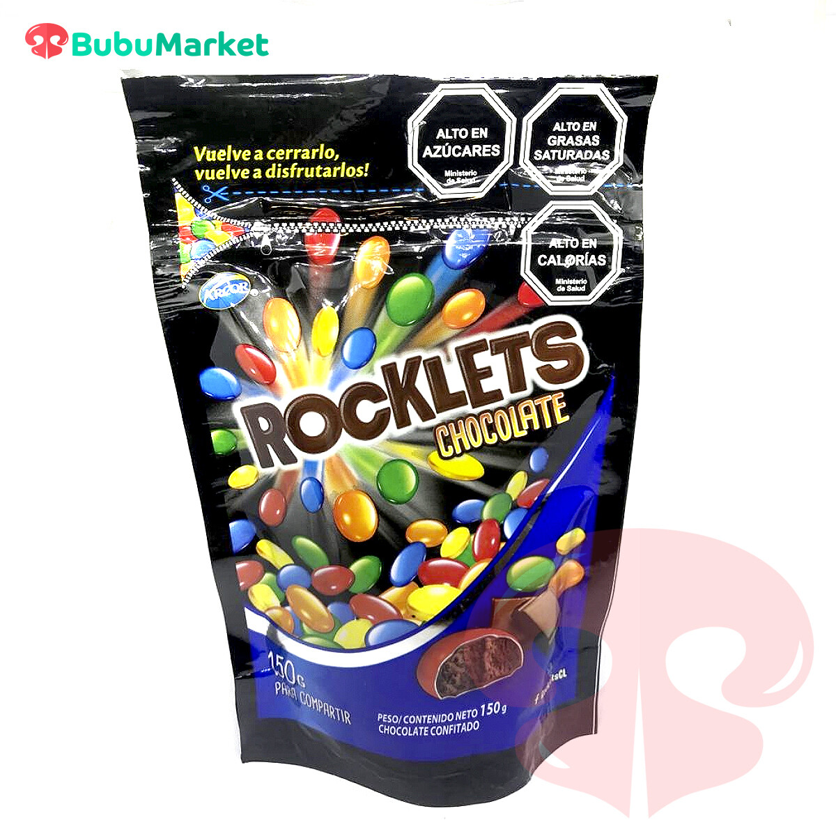 ROCKLETS CHOCOLATE CONFITADO ARCOR BOLSA DE 150 GR.
