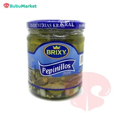 PEPINILLOS ENTEROS BRIXY FRASCO DE 450 GR.