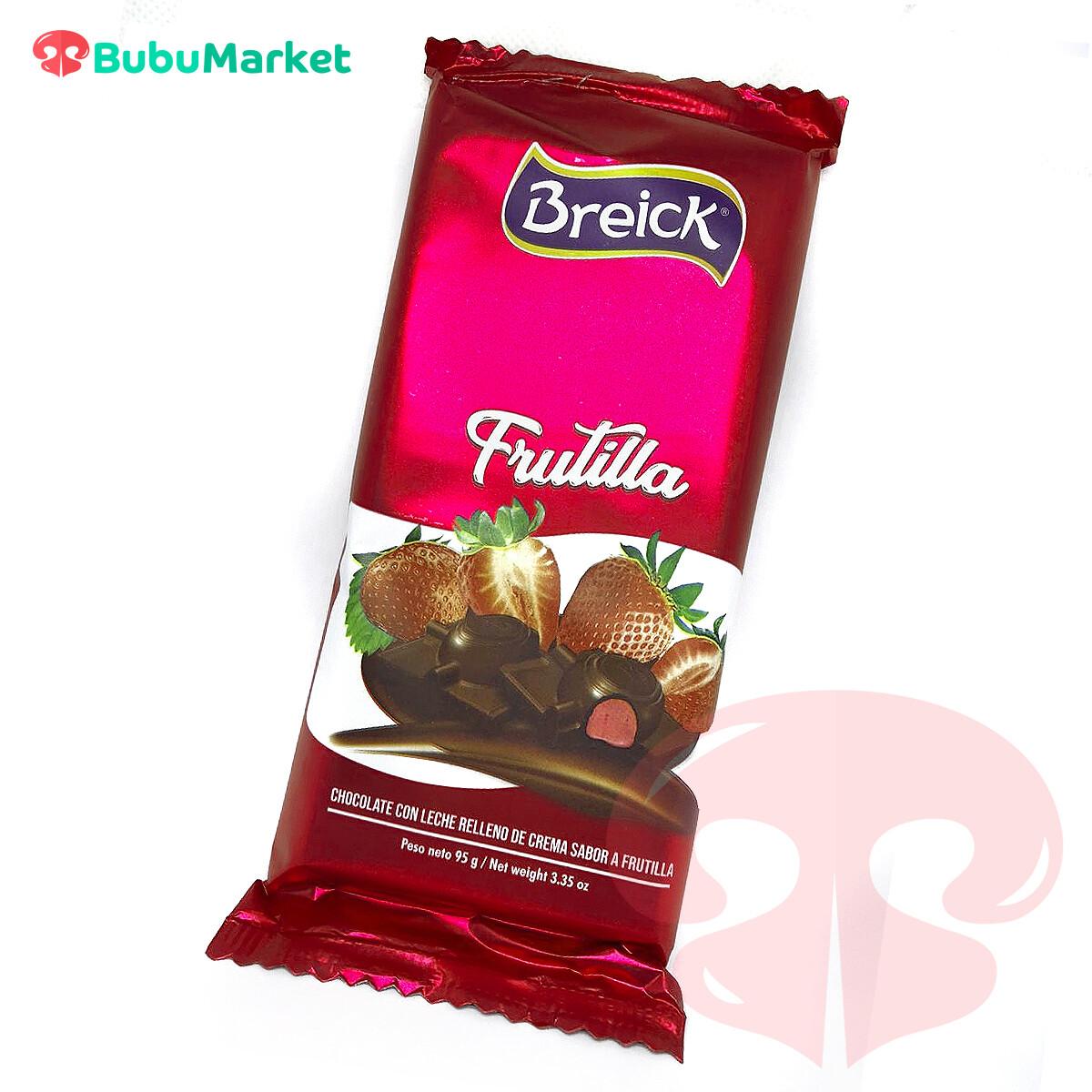 CHOCOLATE CON LECHE RELLENO DE CREMA SABOR A FRUTILLA BREICK TABLETA 95 GR.