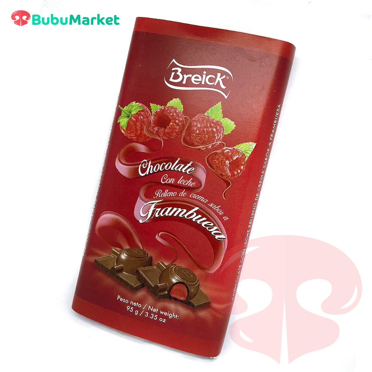 CHOCOLATE CON LECHE RELLENO DE CREMA SABOR A FRAMBUESA BREICK TABLETA 95 GR.