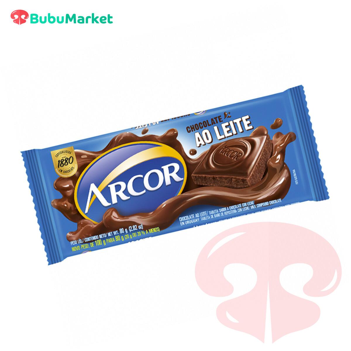 CHOCOLATE CON LECHE ARCOR TABLETA DE 80 GR.