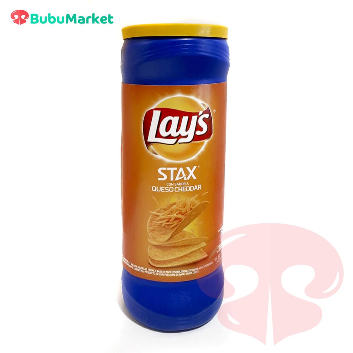 PAPAS LAYS STAX QUESO CHEDDAR TUBO  DE 156 GR.