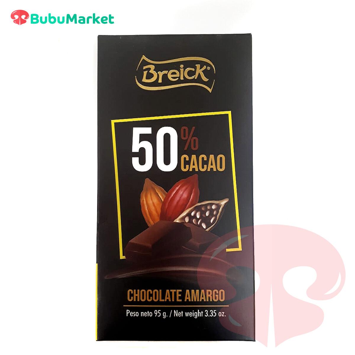 CHOCOLATE AMARGO 50% CACAO BREICK TABLETA 95 GR.