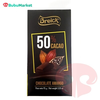 CHOCOLATE AMARGO 50% CACAO BREICK TABLETA 95 GR.