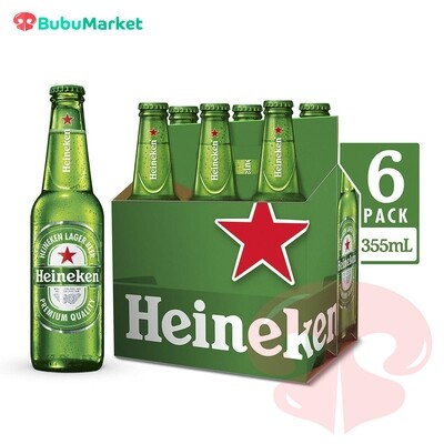 PACK X 6 U. CERVEZA HEINEKEN BOTELLA DE 330 ML.