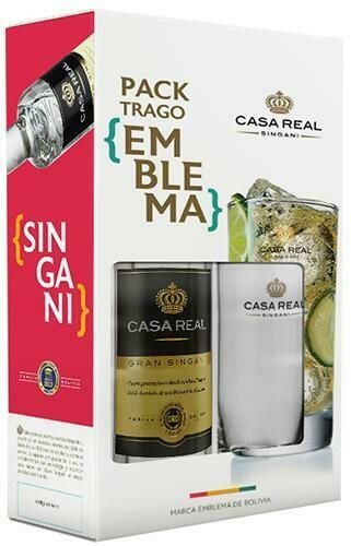 PACK TRAGO EMBLEMA - SINGANI CASA REAL 750 ml  + VASO