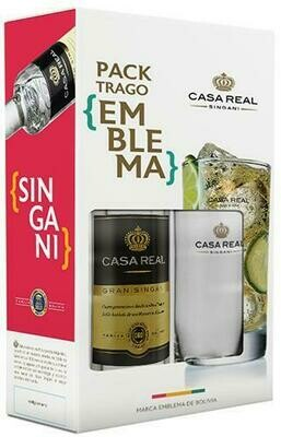 PACK TRAGO EMBLEMA - SINGANI CASA REAL 50 CC  + VASO