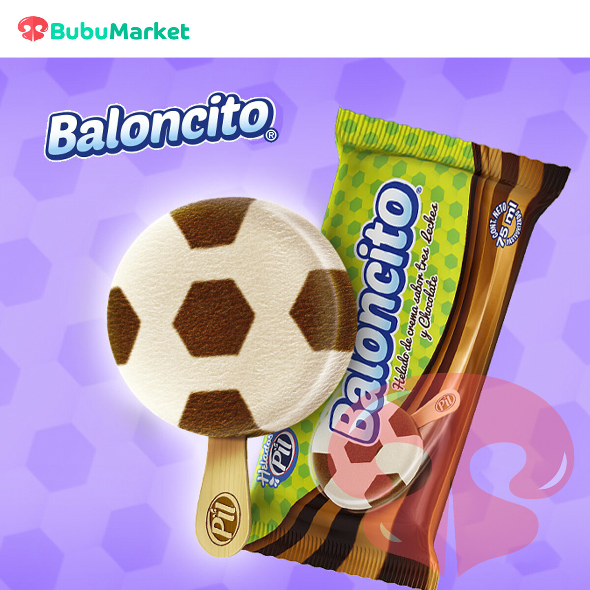 HELADO PIL PALETA DE CREMA BALONCITO 3 LECHES Y CHOCOLATE 70 ML.