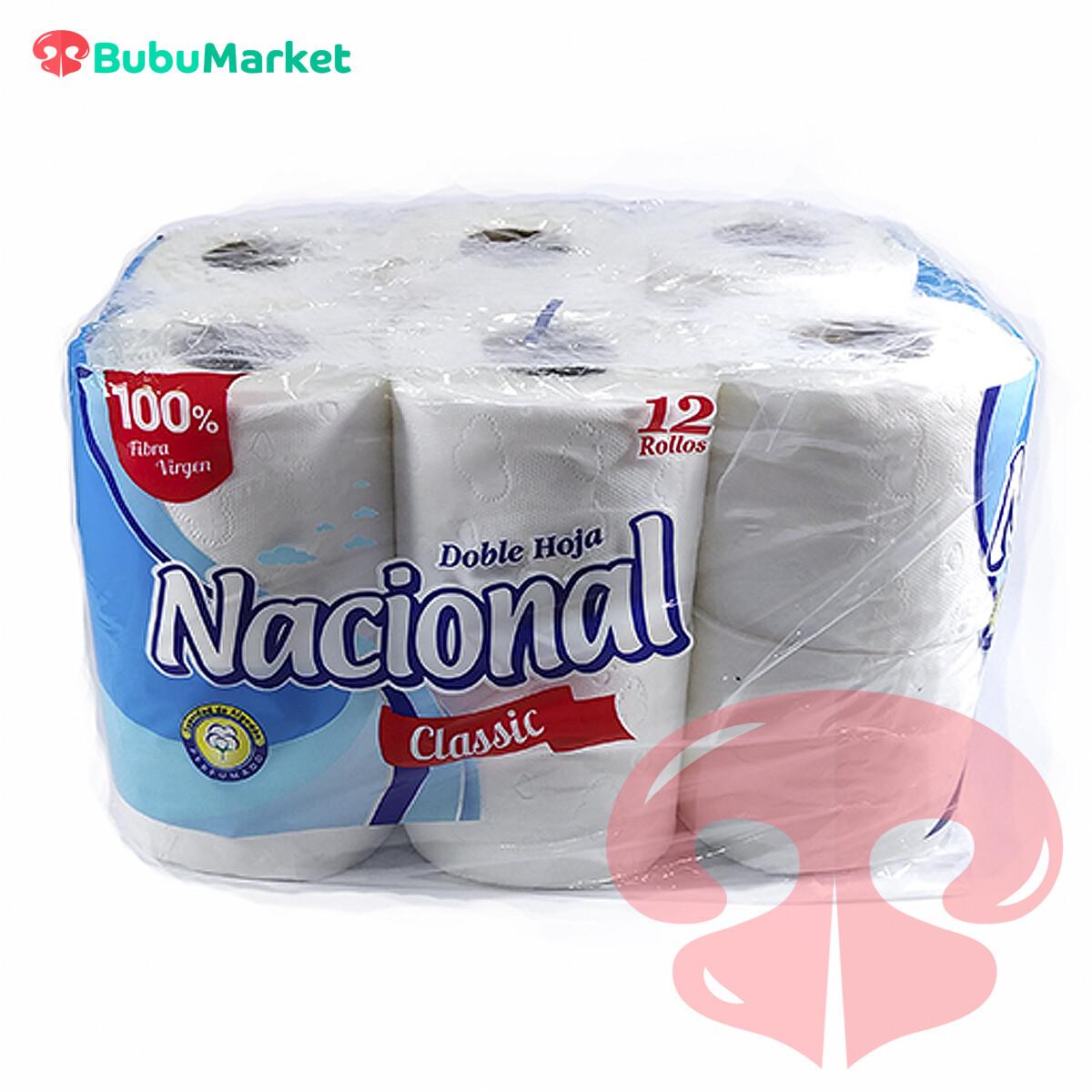 PAPEL HIGIENICO DOBLE HOJA NACIONAL CLASISIC 12 ROLLOS
