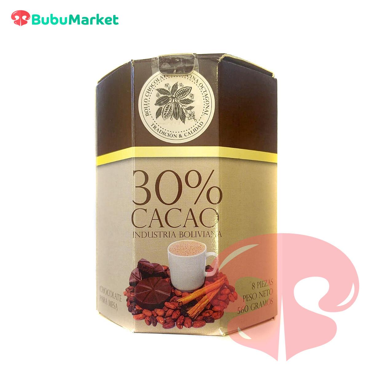 BOLLO CHOCOLATE DE COCINA OCTAGONAL EL CONDOR 30% CACAO 8PZAS. 570 GR.