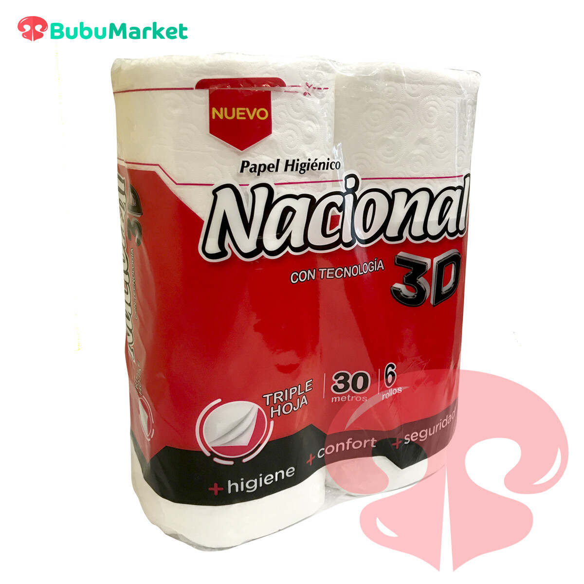 PAPEL HIGIENICO NACIONAL TRIPLE HOJA 3D 6 ROLLOS