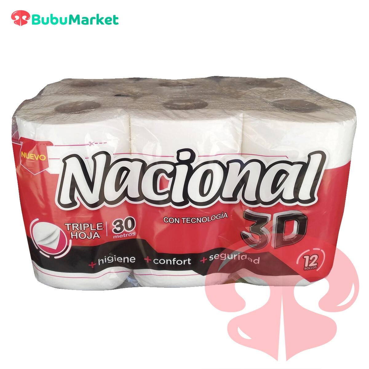 PAPEL HIGIENICO NACIONAL TRIPLE HOJA 3D 12 ROLLOS