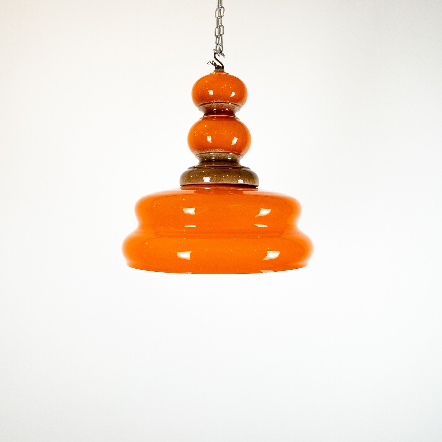 Space age Orange ceramic pendant lamp