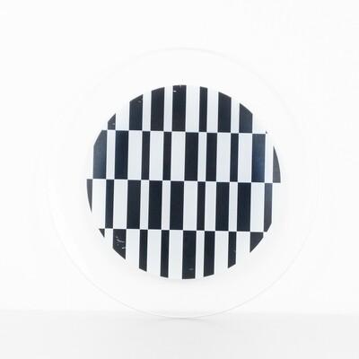Set of 2 White-Black printed glass plates